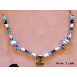 Collier viking bleu-blanc