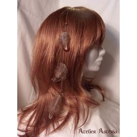 Chaînette cheveux plumes faisan