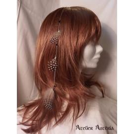 Chaînette cheveux plumes pintade