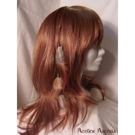 Chaînette cheveux plumes coq roux